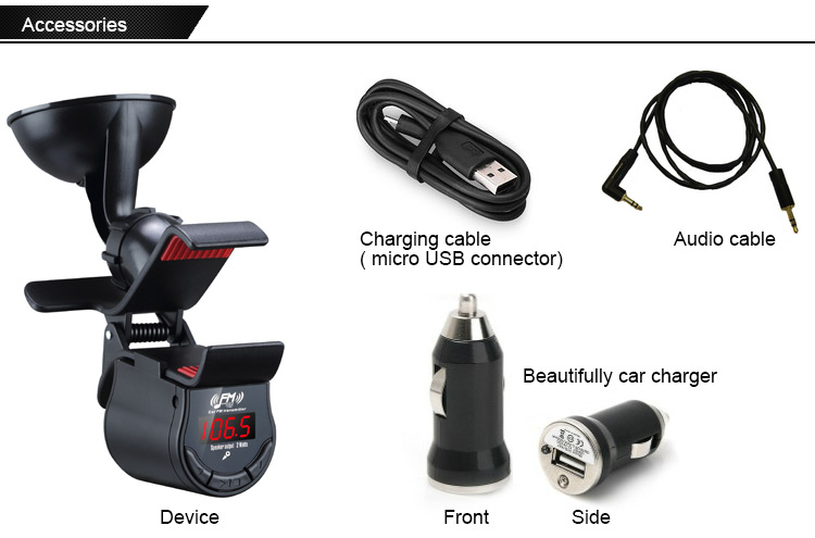 SMALL-EYE Bluetooth Car Kit MP3 Player FM Transmitter Bluetooth Handsfree Phone Holder Stable Sucker Clip LCD Screen 8120