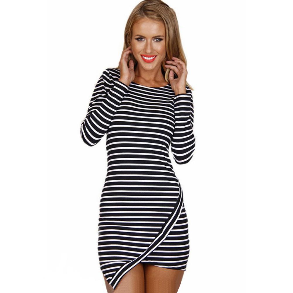 Sexy Mini Stripe Dress Horizontal Asymmetric Hem O Neck Long Sleeve Slim stylish striped flouncing Party Dresses LQ4772(China (Mainland))