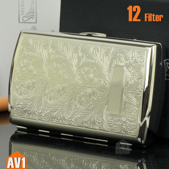 Cigarette case for 12 filter. pure copper with Plating and embossing finishing. High quality mini brass case. top brand.
