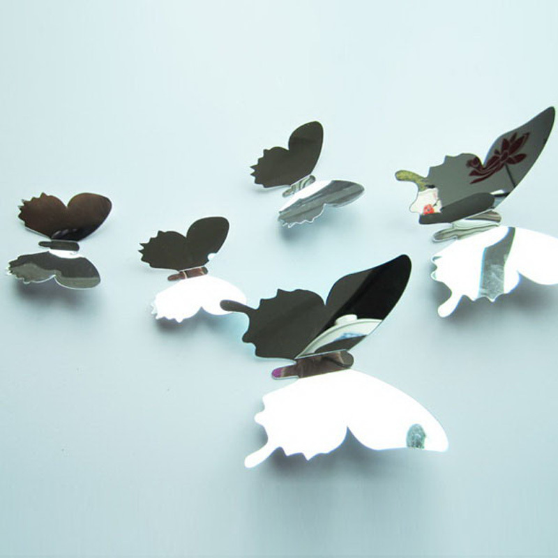 New 12Pcs Eoscopic Acrylic Butterfly Wall Stickers Living Kids Bed Room Decor Silvery(China (Mainland))