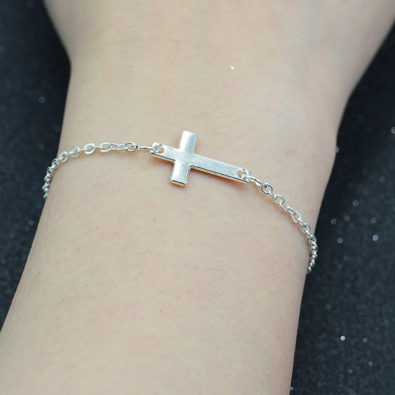 New Simple Design Gold Silver Thin Chain Sideways Cross Inspired Charm Delicate Bracelet For Women Fashion Jewelry(China (Mainland))