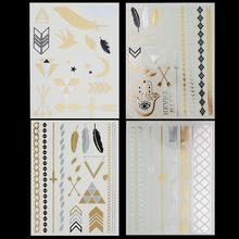 4 Style Wholesale Hot Personality Body Temporary Tattoos Gold Silver Metallic Tattoo Sticker Women Fashion Jewelry Flash Tattoos