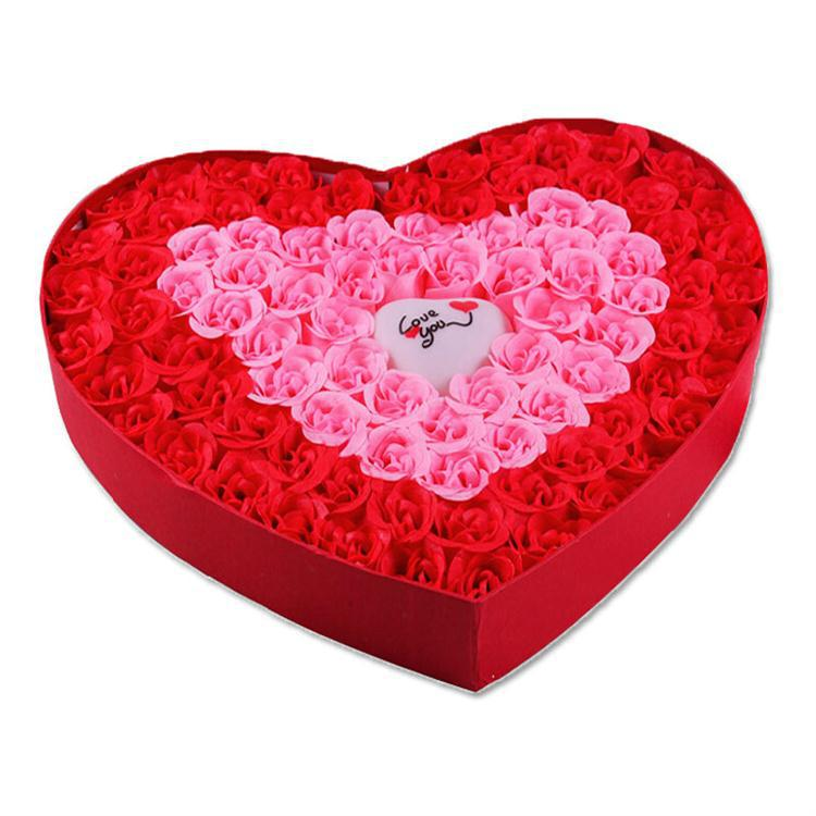 Romantic gifts light rose soap flower heart - red (100)(China (Mainland))