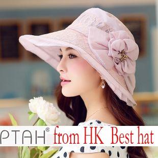 100% authentic Brand Sunscreen flower Ladies fashion hats summer hats UV silk hat PTA726 free shipping(China (Mainland))
