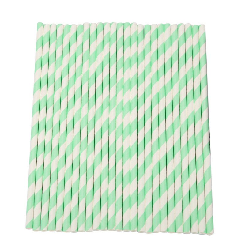 25 pcs Biodegradable Food-grade Paper Drinking Straws Light Green Striped Drinking Pipe Party Wedding  Supplies Free Shipping(China (Mainland))
