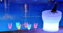 4Pcs/Lot Slong Light Colorful LED luminous champagne cooler Waterproof remote controller+Adapter,Illuseo Lumineux LED Ice Bucket