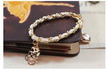 Popular fashion bracelet special Hand woven skull heart bracelet(China (Mainland))