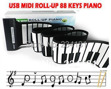 free shipping USB 88 KEYS Standard Electronic PIANO MIDI ROLL-UP musical Soft Keyboard Organ/Computer piano(China (Mainland))