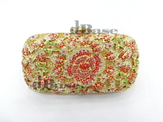 Фотография A6158B crystal Rose Floral flower Lady fashion Bridal Party Night hollow Metal Evening purse Handbag clutch bag