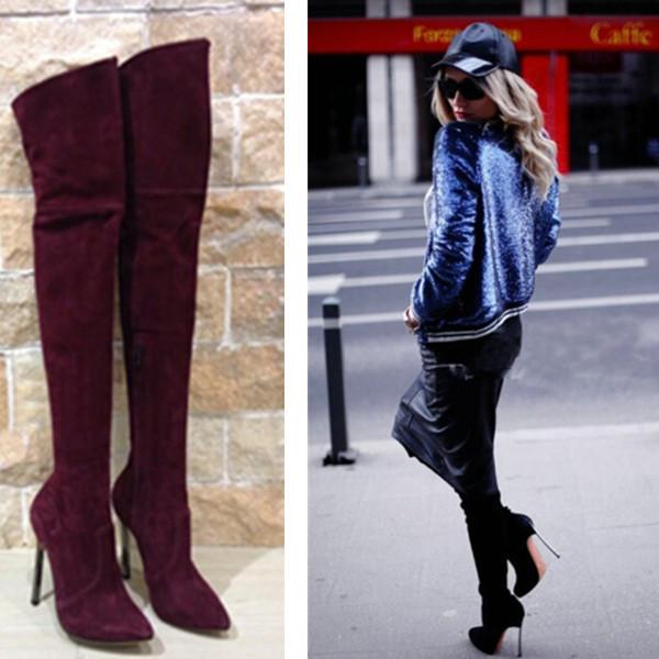 get cheap thigh high boots suede black aliexpress