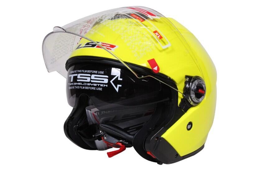 Бесплатная доставка с двумя объективами LS2 шлем половина шлем полной шлем LS2-OF578 мотоциклетный шлем спортивный сочетание желтый, Capacete