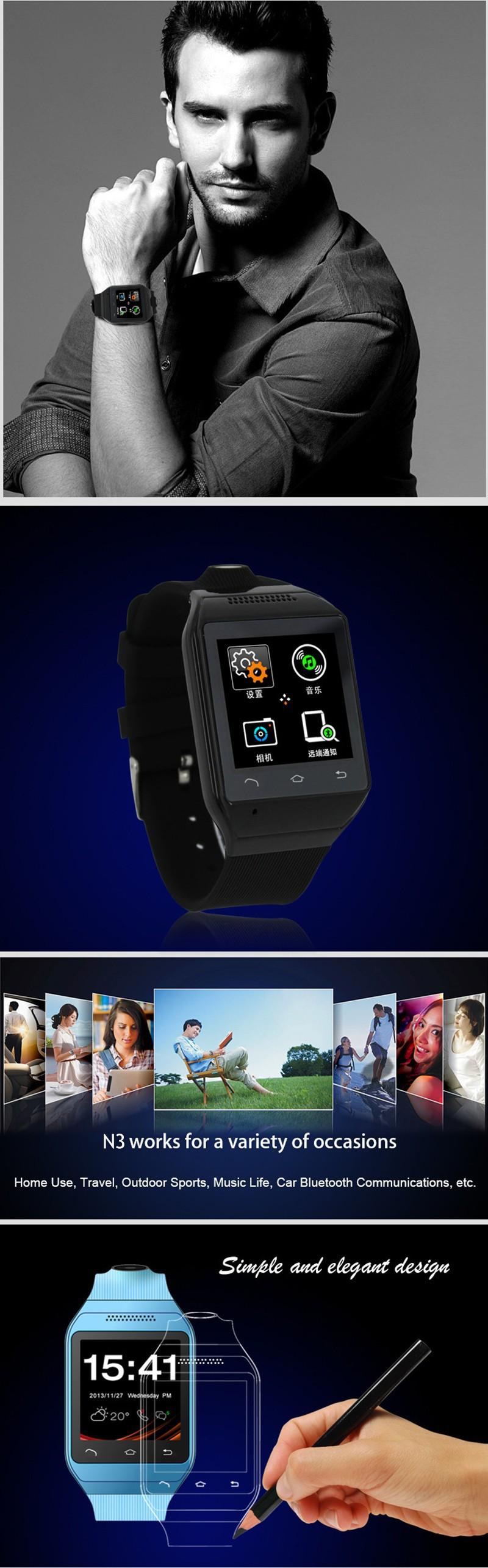 ถูก แบรนด์ใหม่กีฬานาฬิกาสมาร์ทโทรศัพท์N3, 1.54 ''MTK6260สมาร์ทนาฬิกาข้อมือกับSIM 2.0mpกล้องGSMซิงค์Messagers