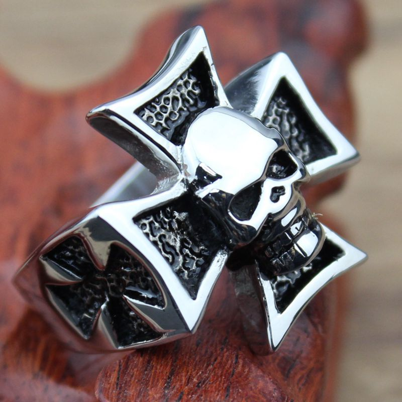 Fashion Big Black Ring Stainless Steel Skull Cross Gothic Man Jewelry Promotion Cheap Price(China (Mainland))