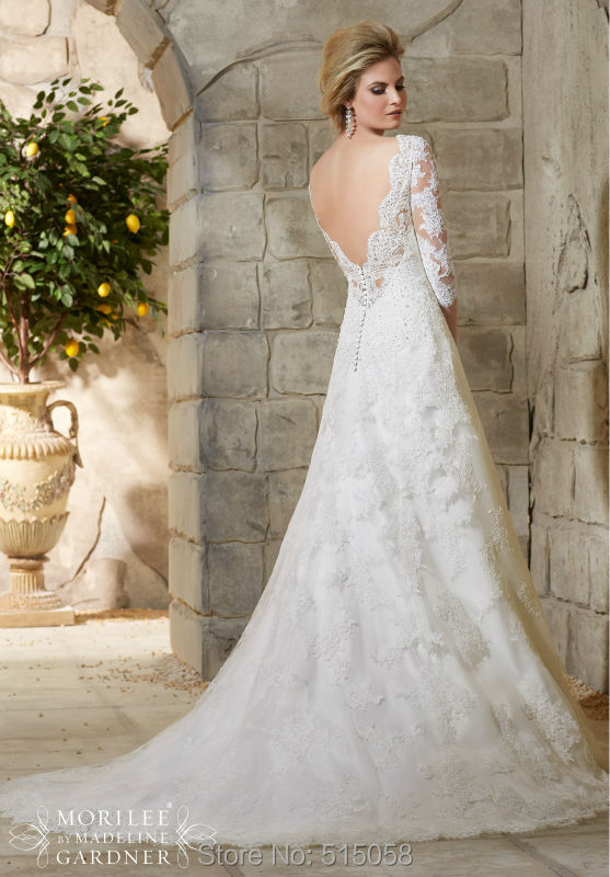 Lace Wedding Dress With 3 4 Sleeves Mermaid Open Back Dresses