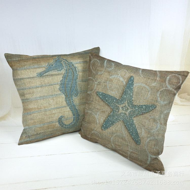 Coussin Pouf Retro Vintage Ocean Decorative Throw Pillow Home Decor Designer Cushions Car Cojin Chair Almofada