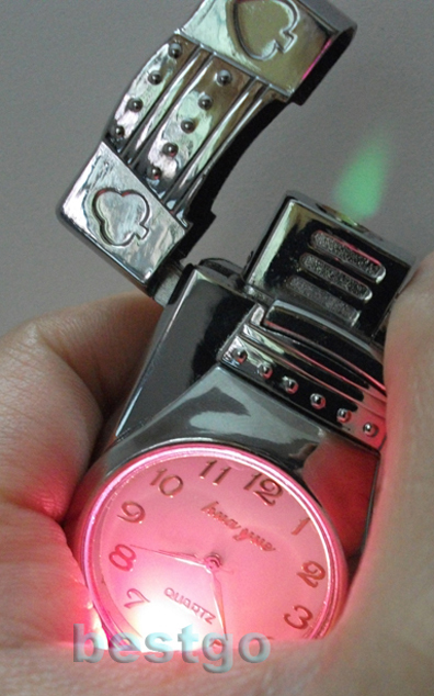 Free Shipping Silver Metal butane lighter with Quartz Watch/LED