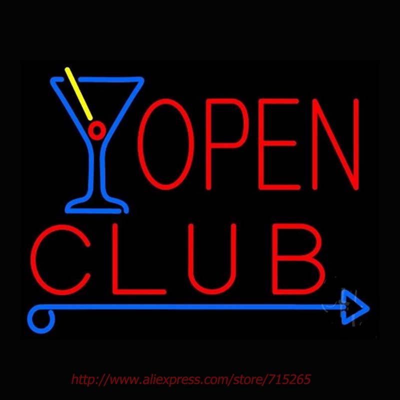 Club With Martini Glass Open Neon Sign Neon Bulb Led Signs Real Glass Tube Handcrafted Recreation Room Windows Iconic Sign 19x15<br><br>Aliexpress