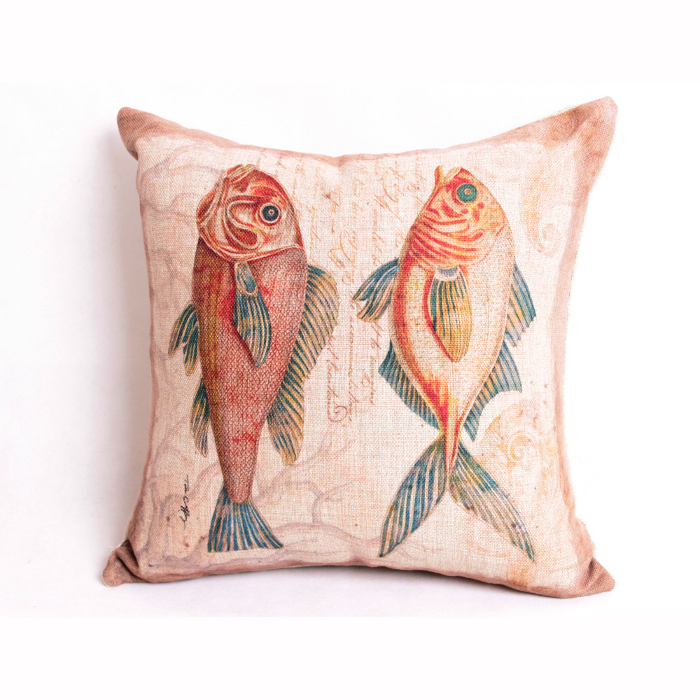 """Free Shipping Home Decor Back Cushion Cover Throw Pillow Case 18"""" Cotton linen Sea Fishes F0112(China (Mainland))"""