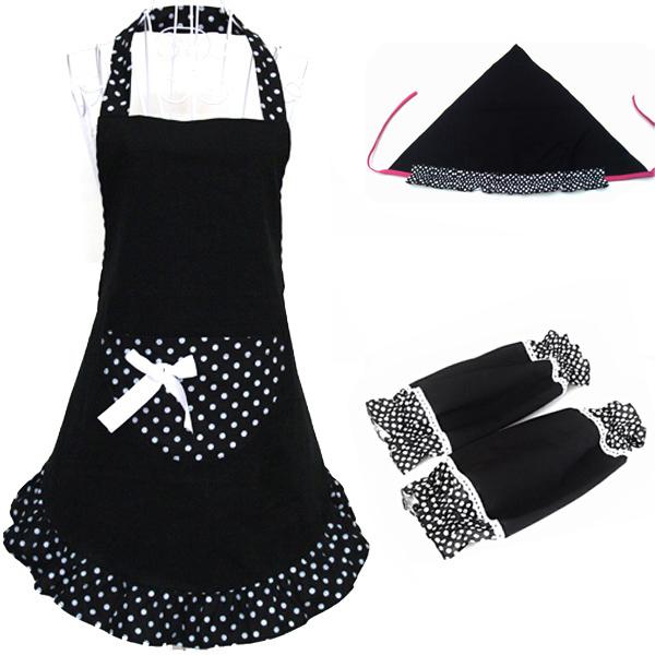 3pcs/set Fashion Dots Pattern Halter-neck Sleeveless Cotton Cloth Apron Kitchen Apron with Over Sleeves & Headscarf (Black)(China (Mainland))