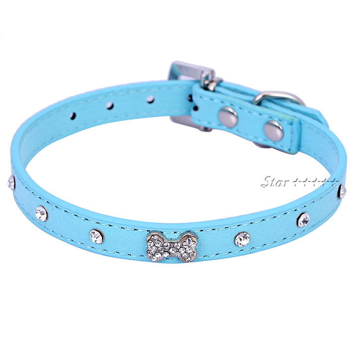 Bling Rinestone Bone Diamond Pet Puppy Collar Velvert Collar Black/Red/BlUE Chihuahua Small Dog Grooming Product Free Shipping(China (Mainland))