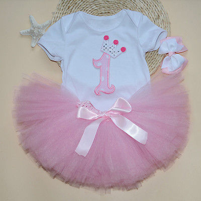 3PCS New Baby Girl 1st Crown Bodysuit Headband Birthday Tutu Skirt Outfit toddler girl clothes summer 2016 Summer(China (Mainland))