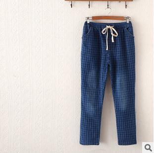2016 падение женщины новые джинсы полная длина плед эластичный пояс брюки небольшой ...