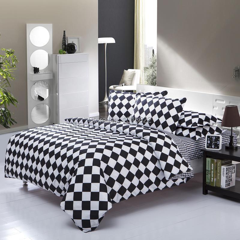 Têxtil, Estilo europeu preto e branco 4 Pcsbedding luxo incluem colcha fronha folha de cama, Rei rainha completa(China (Mainland))