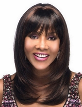 New Arrival Dark Brown Medium Length African American Wig For Black Women, Heat Resistant Synthetic Malaysian Straight Hair(China (Mainland))