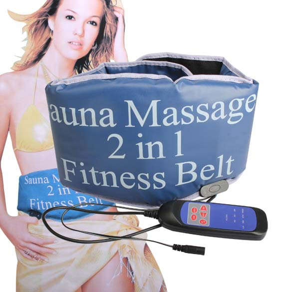 BS#S 2 in 1 Sauna Slimming Massage Fitness Belt Body Massager Vibrating Heating Wholesale High Quality Free Shipping(China (Mainland))