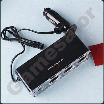 free shipping 3 Way Car Cigarette Charger Socket Adapter+USB #9622