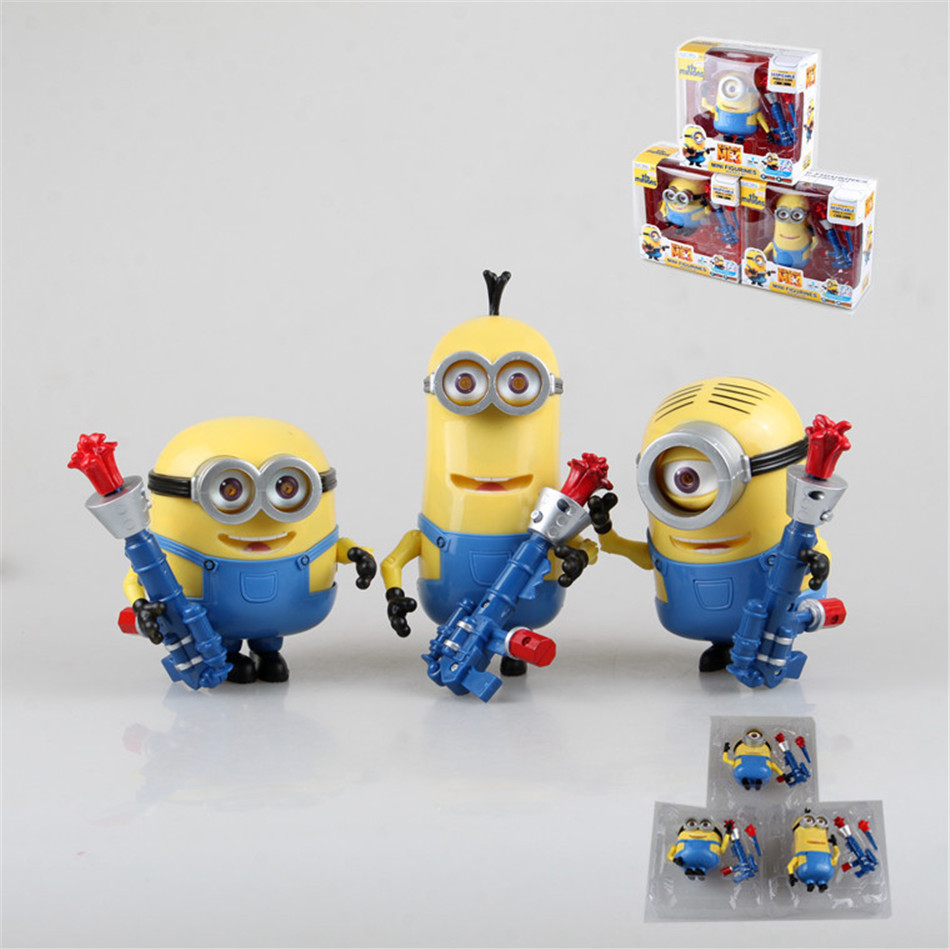 Toy Set Gun 3PCS/set Minions toys yellow doll 3D eyes peluche Minion despicable me 2&3 Kid Toys Boxed for Children Gift 0334(China (Mainland))