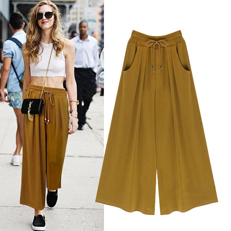 Plus size L-5XL Female Wide Leg Pants Nine pants Baggy Harem Pants Loose Pantalones Mujer Solid Trousers for Women 2016 Apparel(China (Mainland))