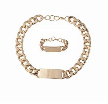 Fashion Heavy metal chunky chain Alloy ID necklace and bracelet set