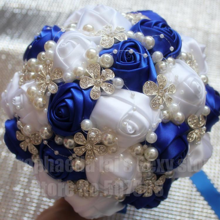Royal Blue White Diamond Wedding Bouquet Silk Diamond Bouquet Bridal