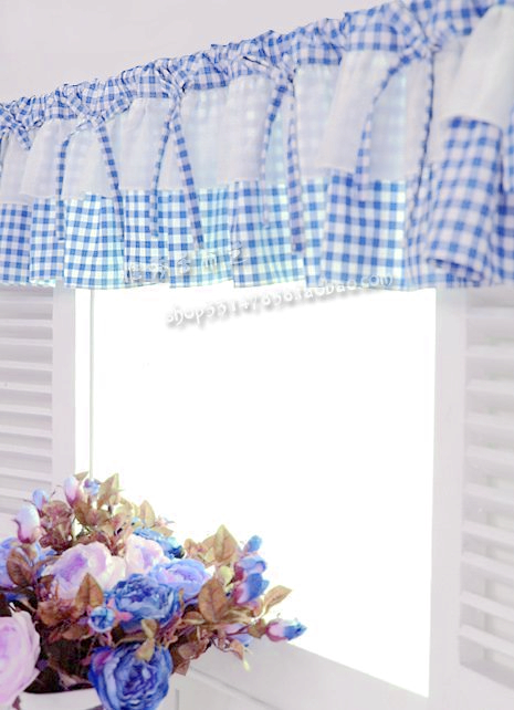 Buy Free Shipping Blue White Plaid Beautiful Coffee Short Curtain Kitchen