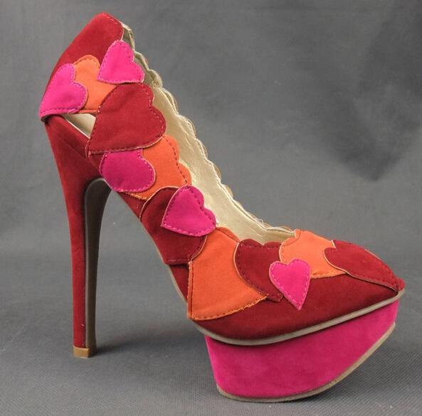 Cute Heart Shape Mixed Color Pumps 2015 High Heels Slip-on Suede Leather Shoes Women Open Toe - Ella Fashion Shop store