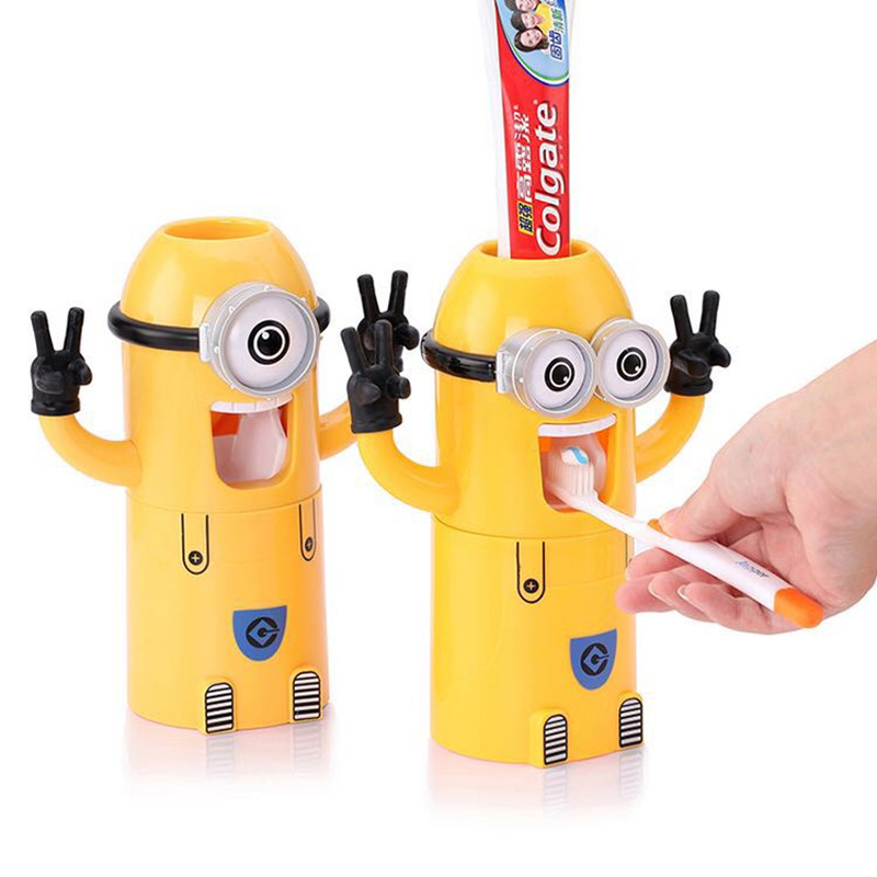 2017 Home Bathroom Products Cute Design Set Cartoon yellow Minions Toothbrush Holder Automatic Toothpaste Dispenser Toothpaste(China (Mainland))
