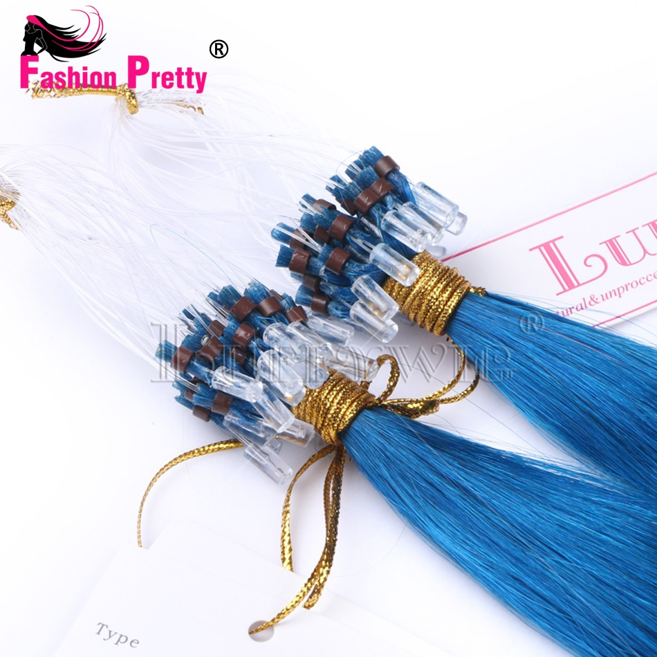 Virgin Micro Loop Hair Extensions Blue Color Brazilian Straight Virgin Hair 1g/1s 10A Human Hair Micro Rings Links Hair