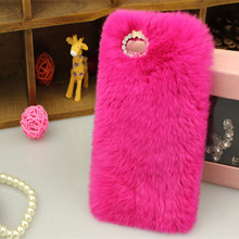 """Soft fluffy Hard back Phone Cover cases for iphone 6s 4.7"""" 6s plus 5.5"""" Cover Soft  Hair fur Skin Back Coverring HOT pink case()"""