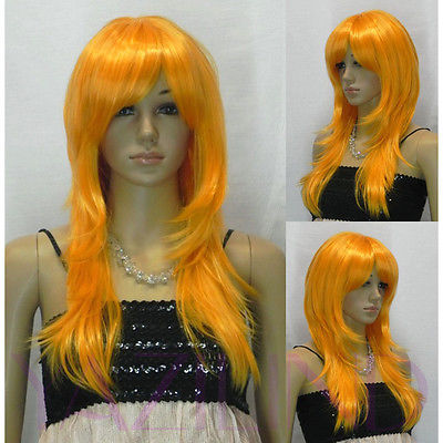 Popular Heat Resistant hair Long Wavy Bright Orange Fibre Hair Cosplay Role Play Japanese Wig(China (Mainland))
