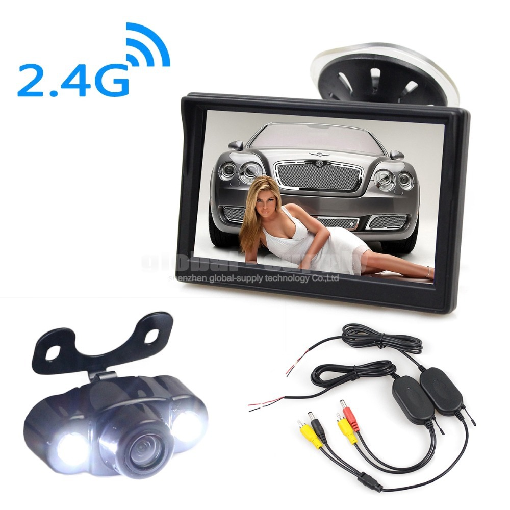HD LED Wireless Reversing Rear View Car Camera 5 Inch Car Monitor Rear View Security Parking System For Car Van Truck(China (Mainland))