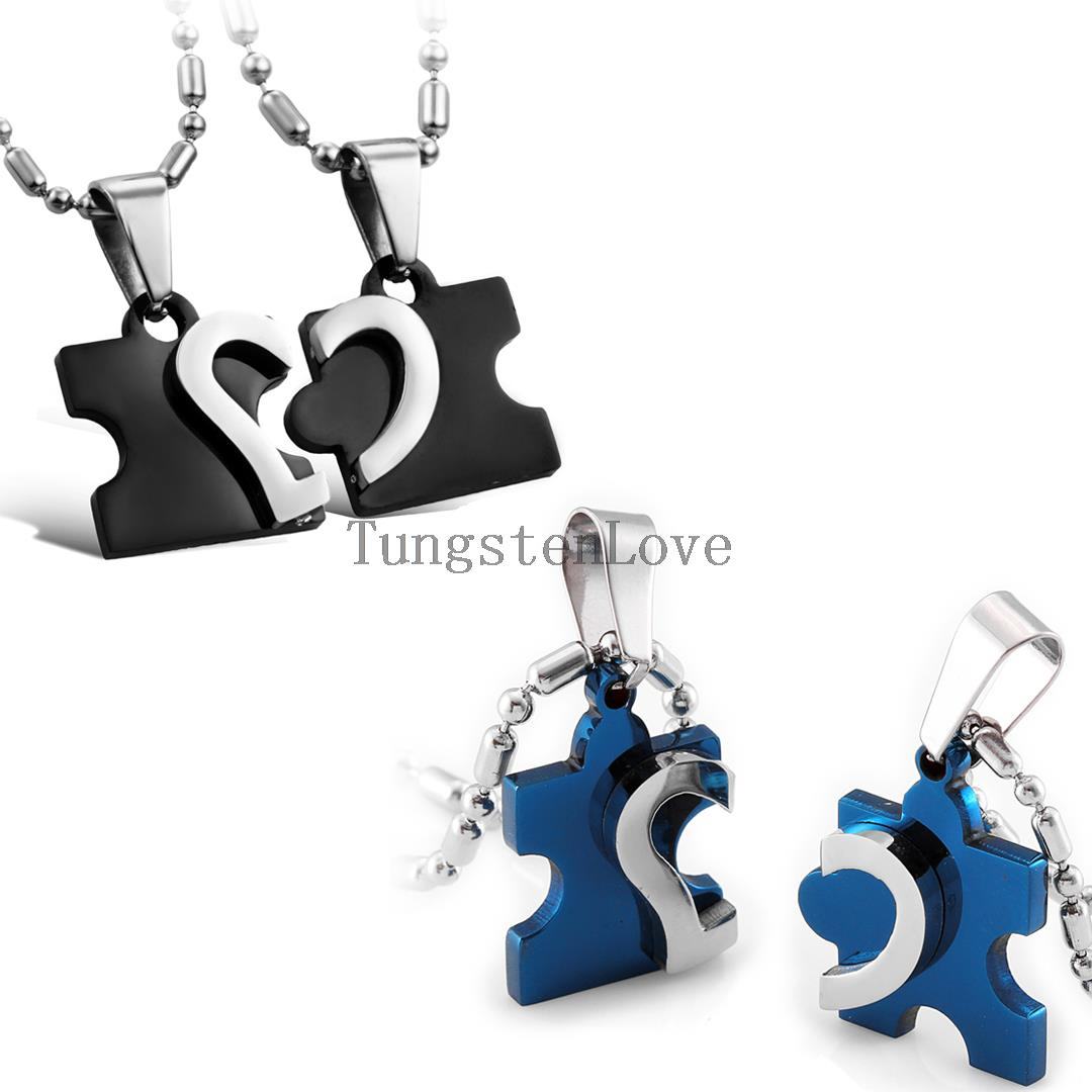 2pcs/pair Blue Black Stainless Steel Love Combining puzzle Necklace heart Pendant for Couples Jewelry Best Friend Necklaces(China (Mainland))