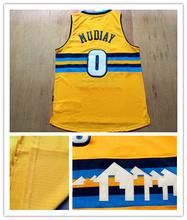 Calidad superior venta al por mayor #0 Emmanuel Mudiay Jersey nugget color, cosido 2015 AU nuevo material nieve montaña Jerseys del baloncesto(China (Mainland))