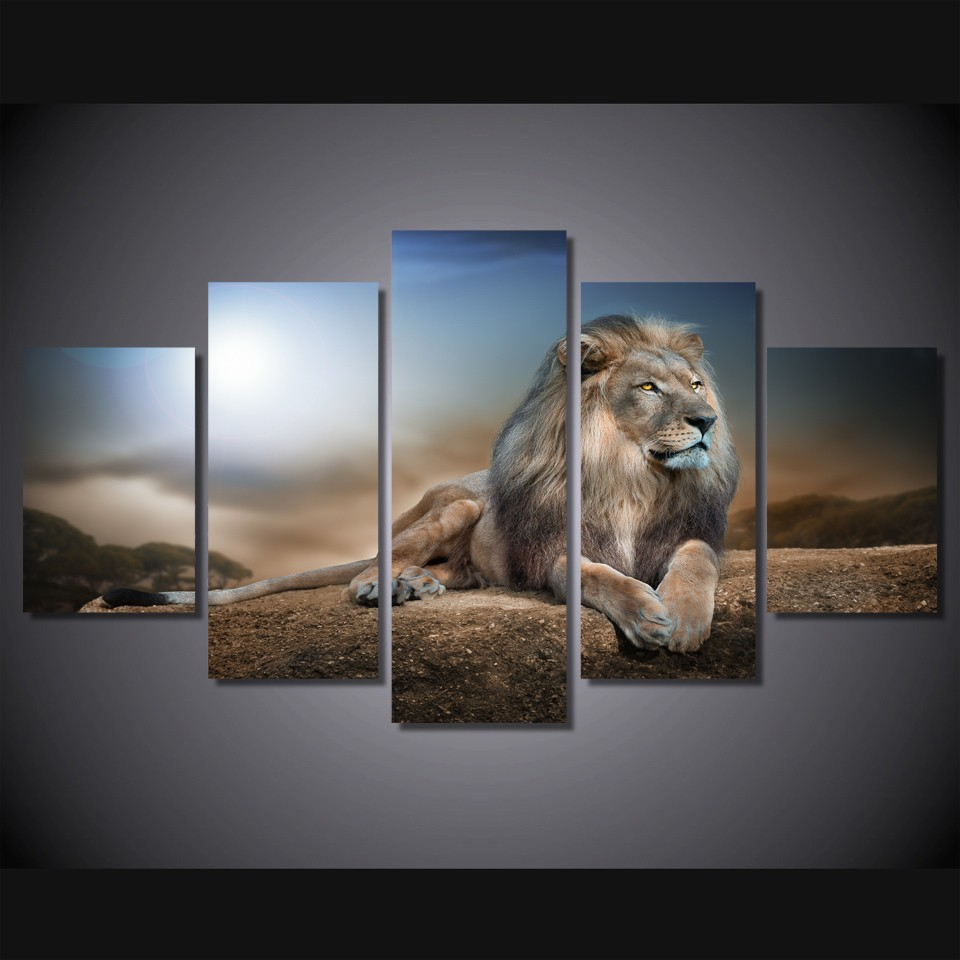 HD Printed Animals Lion Group Painting Canvas Print room decor print poster picture canvas Free shipping(China (Mainland))