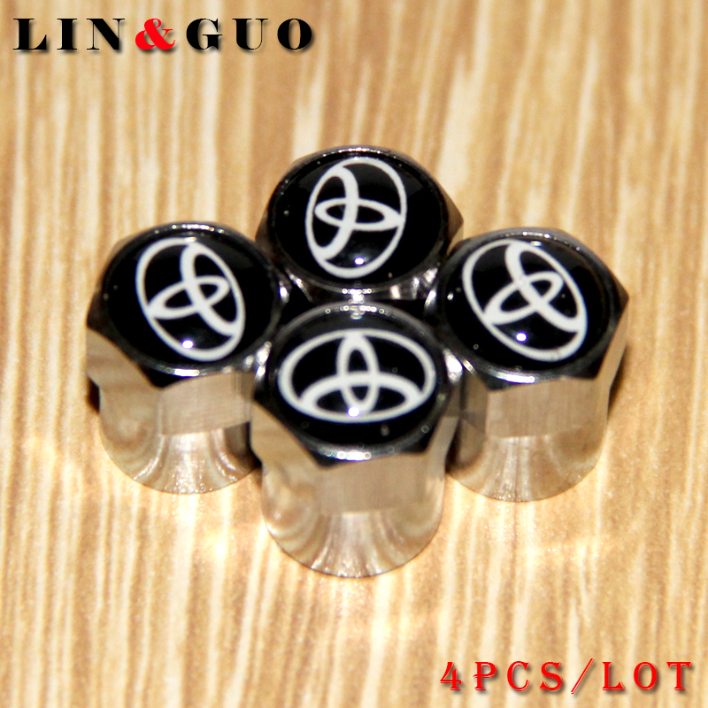 Car-styling Tire Valve Caps case for Toyota avensis auris hilux Corolla Camry RAV4 emblem car styling(China (Mainland))