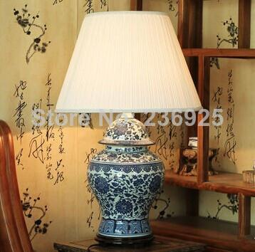Porcelain Fabric Chrysanthemum Vase Table Lamp from Jingde Living Room/Bedroom/Dining Room Decor QTL40(China (Mainland))