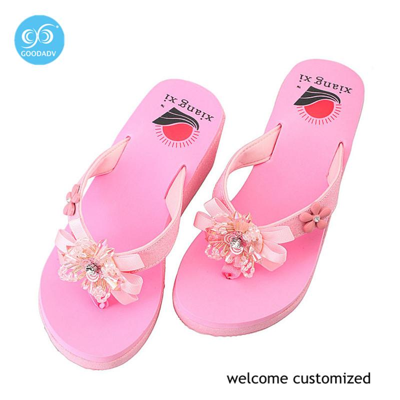 High quality colorful flip flops women high heel flip flops lady's flip flops 2016 summer sandals(China (Mainland))