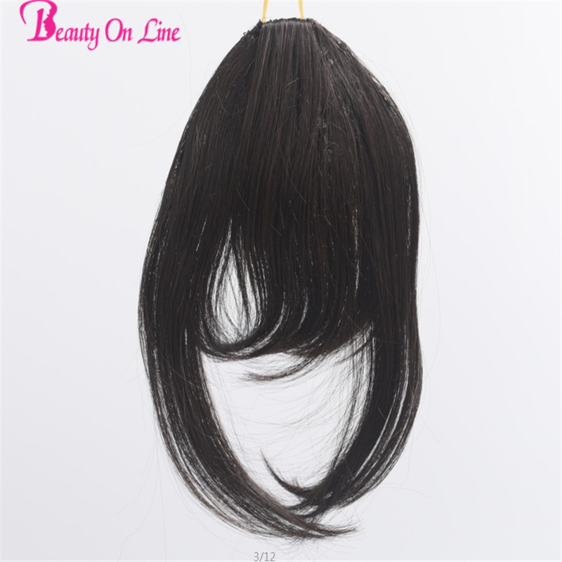 1 Piece Only Clip In Bangs Hair Black Brown Hair Fringes Bangs Hair Extension Super Long Hair Hairpiece For Women Synthetic hair(China (Mainland))