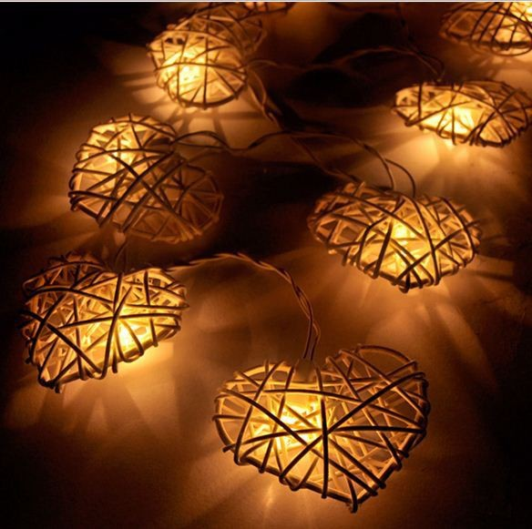 2.5M 10 Lights /2015 Rattan Heart Balls String Lights/Fairy/Lamp Handmade For Christmas Decor/Lighting(China (Mainland))