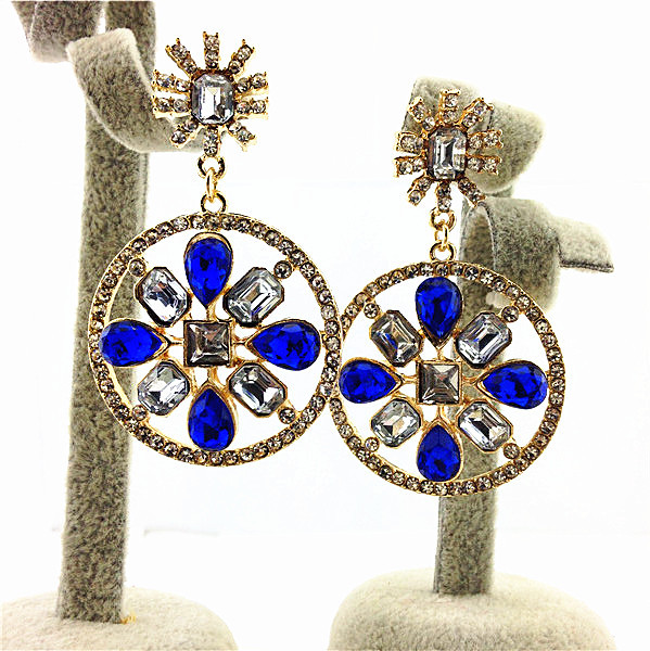 ZA Circle Earrings Luxury Charm Statement Earrings Hollow Out Created Gemstone Crystal Earrings Newest Return Value Wholesale(China (Mainland))